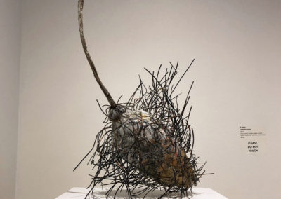 Hoary (Anita Rocamora), 2017: Clay, metal, under-glazes, acrylic paint; hand-built, kiln fired, assembled. 52x37x41 cm. $1250.