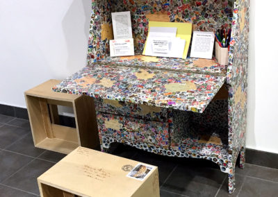 49. Desk (Monique Martin), 2017: Stamps, desk. $250