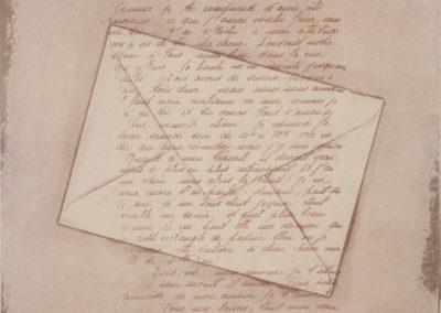 18. Tout mes baisers, tout mon coeur dans cette lettre (Monique Martin), 2018: Ink on Masa Paper; monoprint and silkscreen. 46 x 38 cm. $250