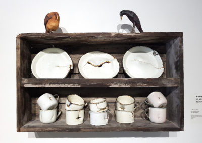 Winds of Time/Les vents du temps (Claude A Morin), 2016: Porcelain, underglaze, weathered wood; gas, salt, and soda fired thrown pieces with woodwork. 57 x 74.5 x 19 cm. $2500