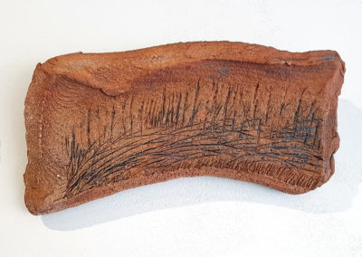 A Grassland Dance 2/La dance de la prairie 2 (Claude A Morin), 2016: Stoneware clay, oxides; gas fired pieces treated with oxides. 21 x 40 x 2 cm. $200