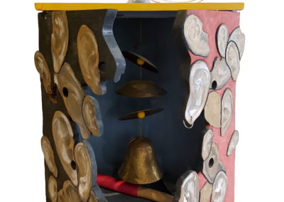 Sound Cabinet (Dave Dunkley, Brian Gladwell, Veronica Tricker, Maggie Sasse, Michael Cullen, Wes Stitt, Joël Urruty, Elizabeth Alexander), 2006: Wood, metal, found objects, paint. Collection of Arthur Perlett and Veronica Tricker.