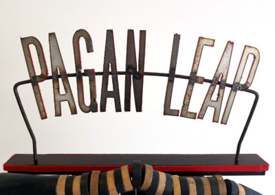 Pagan Leap (Mark Orr, Arthur Perlett, Michael Hosaluk, Daniel Kirk, Veronica Tricker, DeMarcus Sider), 2014: Found objects, wood, paint. Collection of Arthur Perlett and Veronica Tricker.