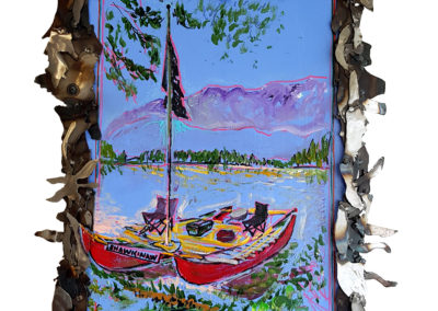 HMCS Shawkinaw: Doug Taylor and Jeff Nachtignall's Boat on Ness Lake (John Cooper, Andrew Raney), 2006: Painting, metal frame. Collection of Arthur Perlett and Veronica Tricker.