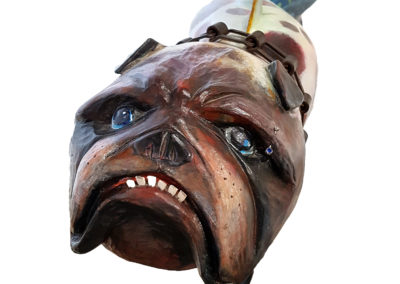 Bulldog Fish (Mark Orr, Miranda Jones, Farrell Rupert, Trent Watts, Veronica Tricker), 2004: Poplar, forged steel, paint, found objects. Collection of Miranda Jones.