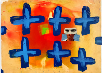 Painting with Blue Crosses (Doug Taylor), 2016: Collage, paint on canvas, staples. Collection of Arthur Perlett and Veronica Tricker.