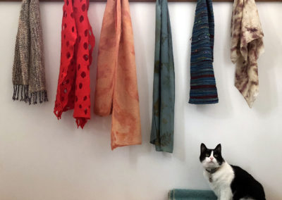 Scarves by (left to right) Judy Haraldson, Gwen Klypak, June J. Jacobs, Donna Stockdale, Judi Gay & Teresa Gagne.