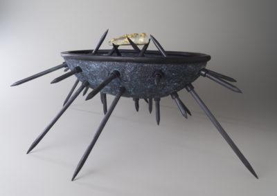17. Styx (Paula Cooley and Louisa Ferguson), 2018: Stoneware clay, oxides, acrylic paint, expoxy, steel. $1400