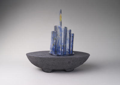 20. Nocturne (Paula Cooley and Louisa Ferguson), 2018: Stoneware, underglaze, glaze, glass. $600