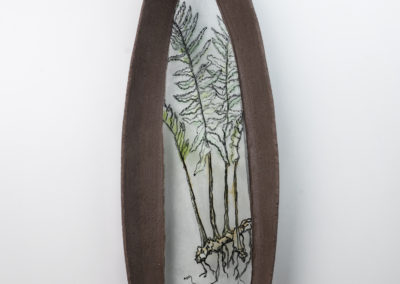 7. Ode to Obsolescence IV (Fern) (Louisa Ferguson), 2018: Painted and fused glass, glass powders, clay, steel, mortar. $600