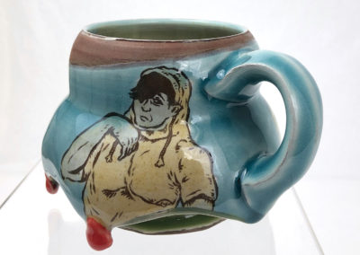19. Myth for Introverts Mug (Shaun Mallonga, Ontario), 2018: Red stoneware, slip, glaze; wheel thrown, altered, sgraffito, glaze trailing. 9 x 14 x 10. $85