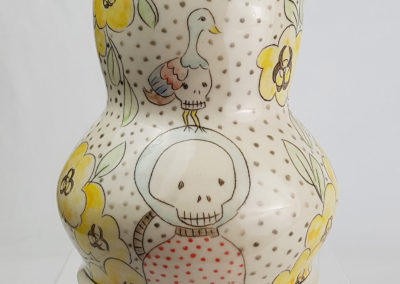 2. imminent hazards (Carole Epp, Saskatchewan), 2019: Cone 6 white stoneware, underglazes, clear glaze;fired in oxidation, mishima technique. 15.5 x 14 x 14. $175