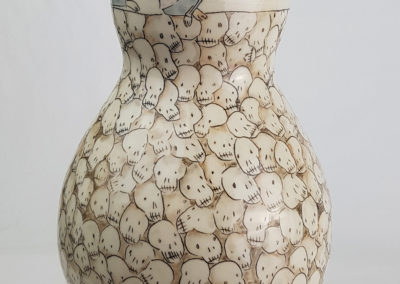 3. a form of education (Carole Epp, Saskatchewan), 2019: Cone 6 white stoneware, underglazes, clear glaze;fired in oxidation, mishima technique. 20 x 14 x 14. $200