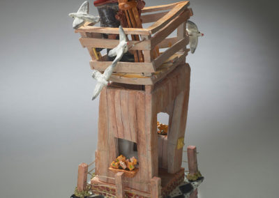 25. Ode to Victor (Evan Quick), 2019: Low fire clay, glazes, acrylic and enamel paints; hand-built. 35 x 16.5 x 14. $400. Leslie Potter Award for Excellence in Sculpture.