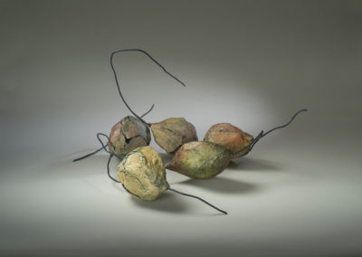 26. Husks (Anita Rocamora), 2018: Clay, metal, oxides, acrylics; hand-built. 27 x 60 x 57. $800. Citizen of Craft Award.
