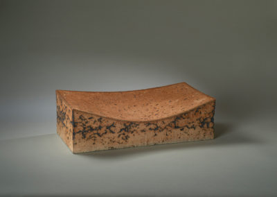 35. Topography 5 (Zane Wilcox), 2019: Reduction fired stoneware, copper; press molded, sculpted. 14 x 42 x 20.5. $1000. Award for Excellence in Clay.