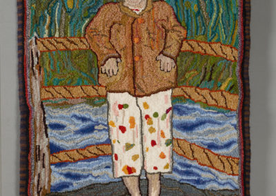 5. Capilano (Toby Cote), 2019: Unbleached primitive linen foundation cloth, 100% wool fabric strips, 100% wool whip-stitched edge, 100% wool felted casing; traditional  rug hooking. 98 x 70 x 1.3. $1800. Award for Excellence in Textiles.