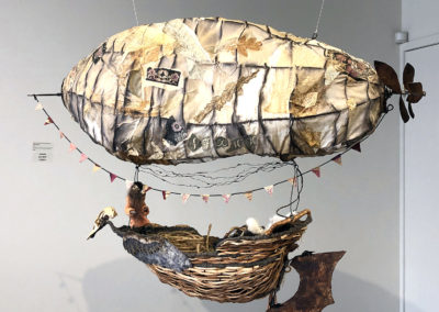As the Crow Flies (with Michael Harlick) (Susan Furneaux), 2019: Natural dye, paper, spruce root, natural fibre, found objects; hand sewing, embroidery. 70 x 98 x 30 cm. $2500