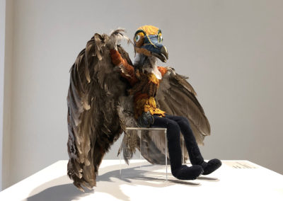 Fly Like a Bird (Philippa Jones), 2015: Taxidermied wings and bird skull, ceramic, silk, embroidery, leather. Variable – 27 cm h. $750