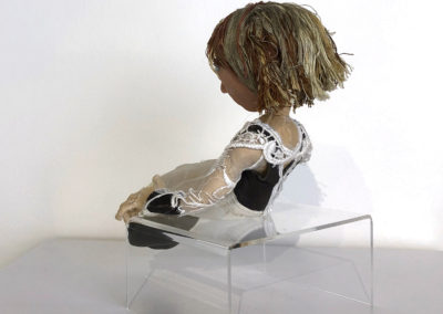 Human Limitations (Philippa Jones), 2015: Fimo head form, mixed fabric and lace, with fully articulated armature. Variable – 22 cm h. $500
