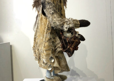 The Maiden (Susan Furneaux), 2015: Natural dye, natural fibre, vintage textiles, found objects; hand sewing, embroidery. 52 x 22 x 23 cm. $1200