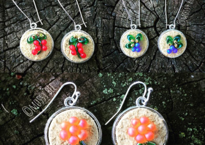 beaded berry leather earrings