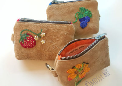 beaded leather change purses