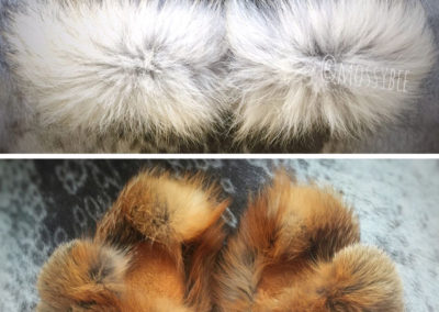 beaver and fox fur mitts
