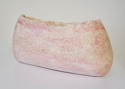 52. Big Pink (Darren Emenau), 2019: White earthenware, MNO lichen glazes; multi-fired in low fired oxidation kiln. 46 x 20 x 15 cm. $500
