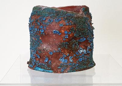 54. Frank (Darren Emenau), 2018: Earthenware, MNO lichen glazes; multi-fired in low fired oxidation kiln. 13 x 10 x 10 cm. $160