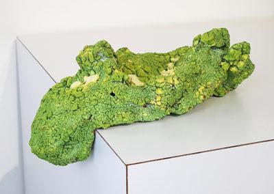 55. Lumpen 1 (Darren Emenau), 2018: White earthenware, MNO lichen glazes; multi-fired in low fired oxidation kiln. 25 x 13 x 10 cm. $250