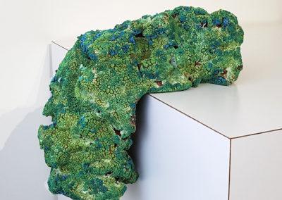 57. Lumpen 3 (Darren Emenau), 2018: Earthenware, MNO lichen glazes; multi-fired in low fired oxidation kiln. 31 x 8 x 10 cm. $400