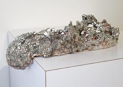 58. Lumpen 4 (Darren Emenau), 2019: White earthenware, MNO lichen glazes; multi-fired in low fired oxidation kiln. 56 x 25 x 20 cm. $450
