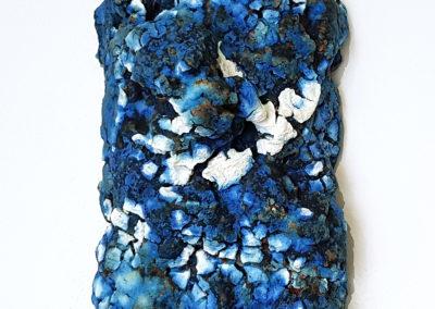 65. Maia (Darren Emenau), 2019: White earthenware, MNO lichen glazes; multi-fired in low fired oxidation kiln. 26 x 15 x 12 cm. $250