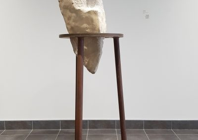 Marble Lady (Robert Assié), 2019: Field marble; hand carved. Stand: 104 x 45 x 45 cm, Sculpture: 84 x 38 x 32 cm. $9800