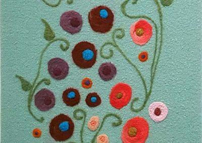 1. The Flower People, sage(Melanie Monique Rose), 2019: Wool blanket, felted wool. 153 x 54 x 3 cm. $800