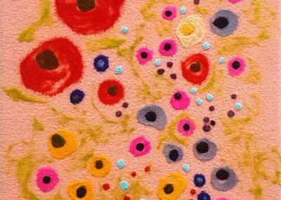 5. The Flower People, salmon(Melanie Monique Rose), 2019: Wool blanket, felted wool. 122 x 51 x 4 cm. NFS