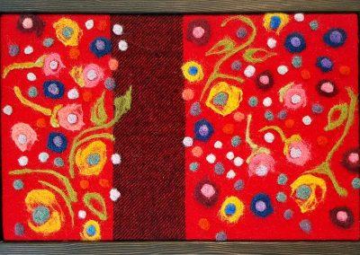 8. The Flower People, red & black #1(Melanie Monique Rose), 2016: Wool blanket, felted wool. 35 x 52.5 x 4 (framed) cm. NFS