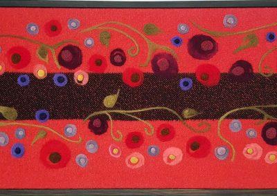 10. The Flower People, red & black #3(Melanie Monique Rose), 2019: Wool blanket, felted wool. 50 x 111 x 4 (framed) cm. $800