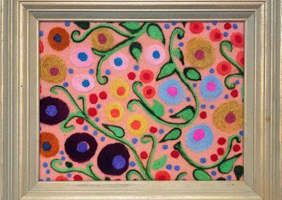 12. The Flower People, rose(Melanie Monique Rose), 2019: Wool blanket, felted wool. 37 x 45 x 5 (framed) cm. $375