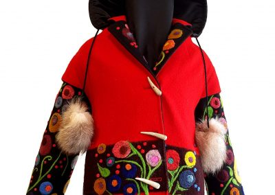 14. Coalesce(Melanie Monique Rose), 2017: Hudson Bay coat, wool cloth, felted wool, antler, fur. 100 x 75 x 42 (Women's  Medium) cm. $1300