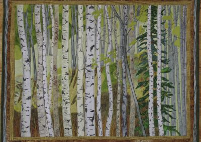 _In the Green Wood_, 2013, 27_ x 22_, fabric collage, Hilary Johnstone