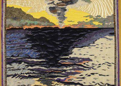 _Sunrise, Lac La Ronge_, 2015, 32_ x 36_ inches, fabric collage , Hilary Johnstone