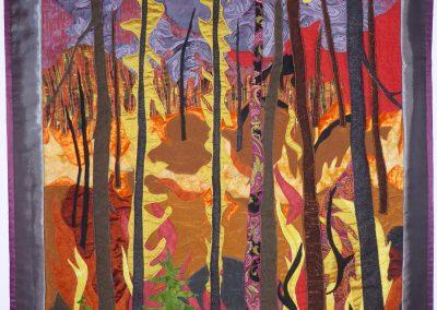 _Wildfire_ 2015 32_ x 50_, fabric collage, Hilary Johnstone.