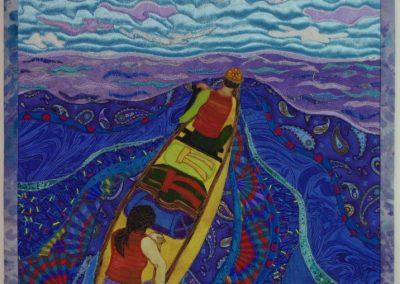 _Yellow Canoe_ 2017, 15' x 24_, fabric collage, Hilary Johnstone