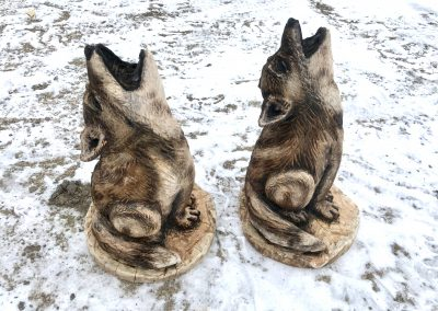 Howling Wolf Pups Log Carvings