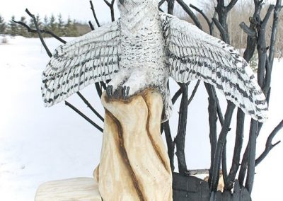 Snowy Owl Log Sculpture